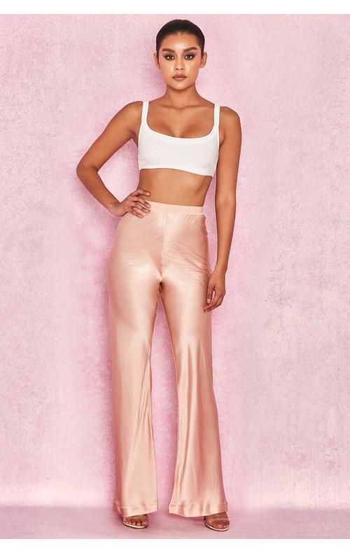 Haima Cafe Creme 100% Pure Silk Trousers