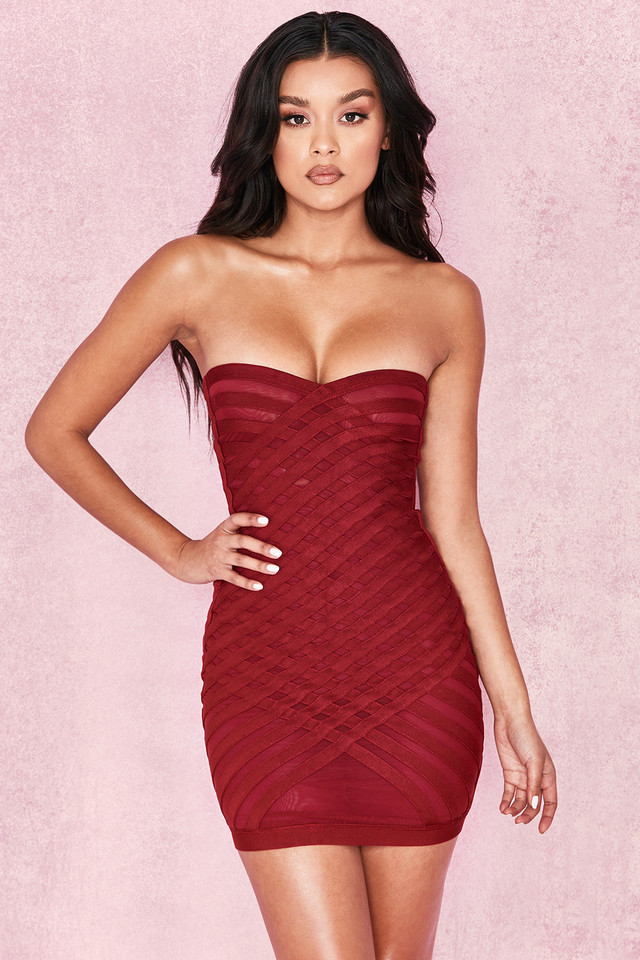 Azani Raspberry Bandage + Mesh Cross Weave Strapless Dress
