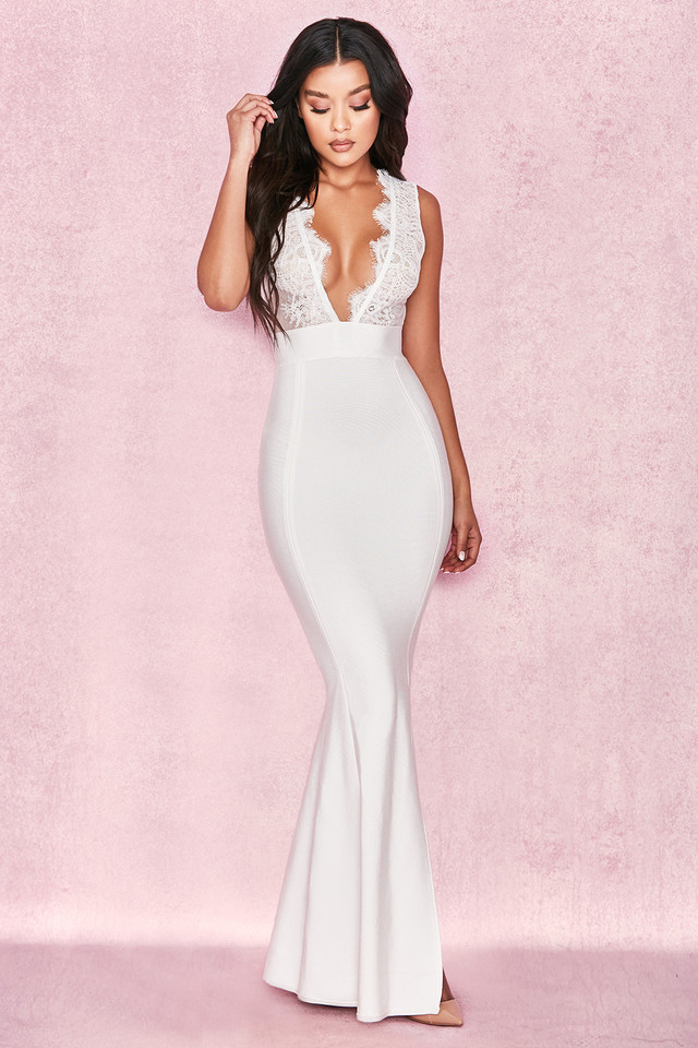 Balere White Bandage and Lace Maxi Dress