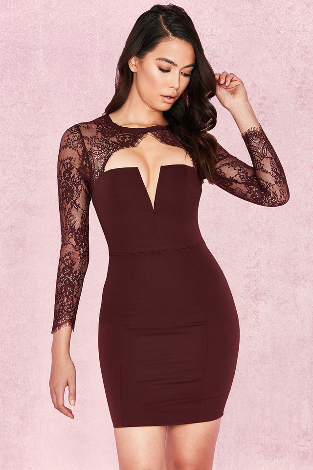 Jaslyn Raisin Stretch Crepe + Lace Mini Dress