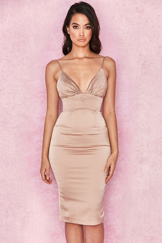 Ronel Nude Satin Pin Tuck Dress