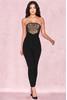 Beulla Black + Beige Lace Panel Strapless Jumpsuit