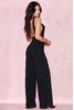 Sharnah Black Bib Front Crepe Jumpsuit