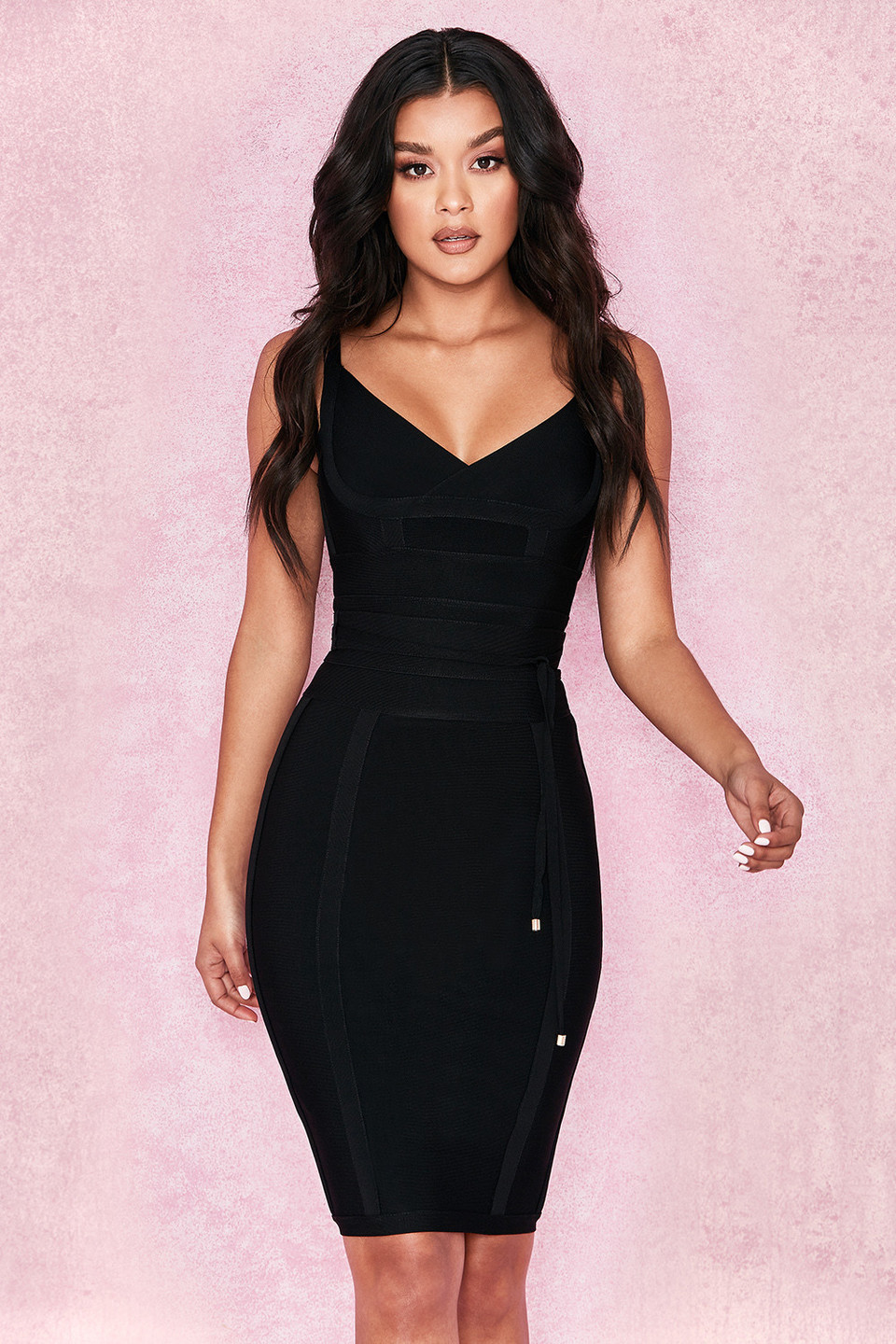 Belice Black Tie Waist Bandage Dress