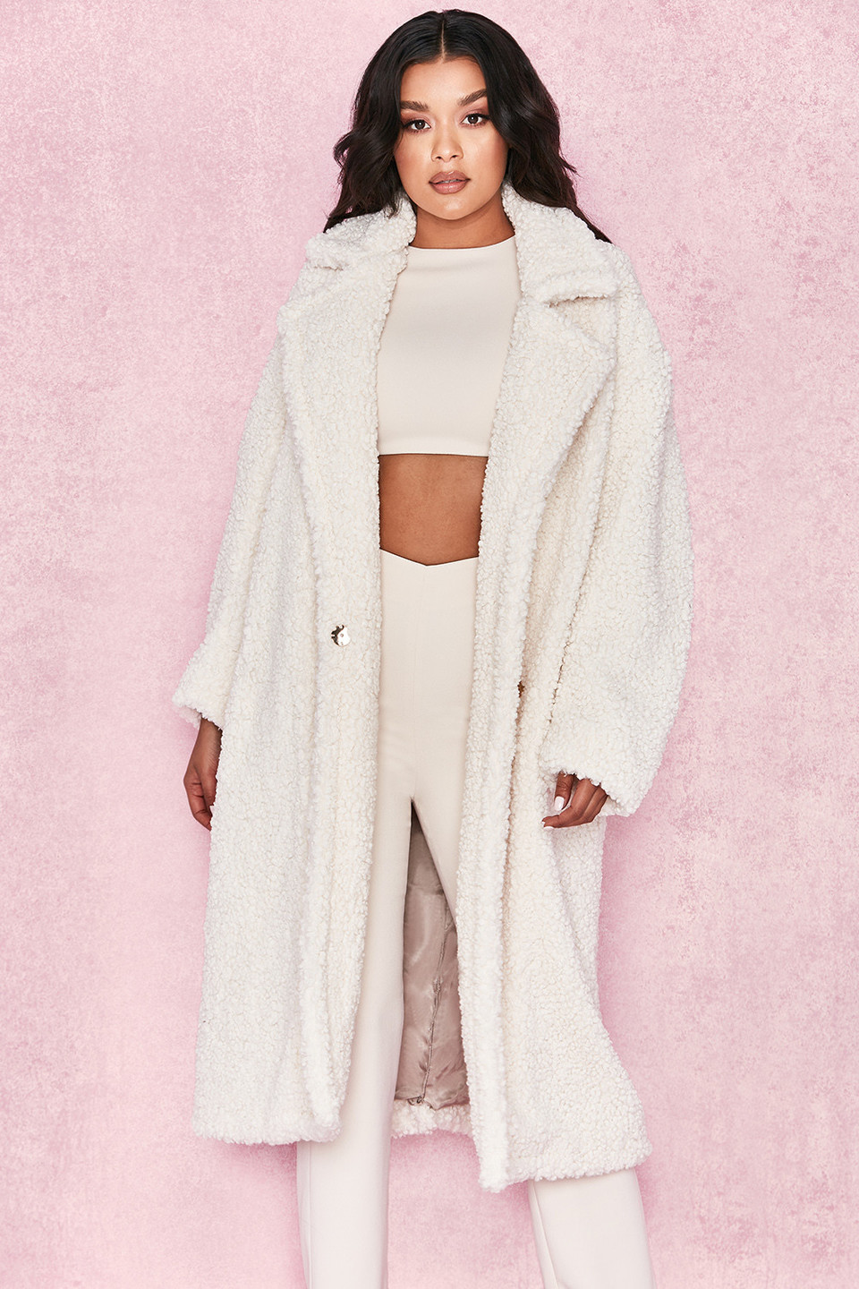 Bear Milk White Faux Fur Sherpa Coat