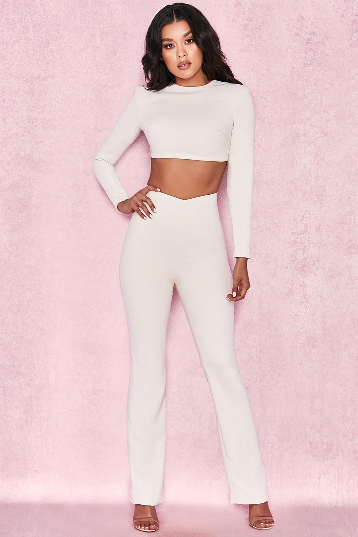 Aguzin Cream Crepe Angled Waistband Trousers