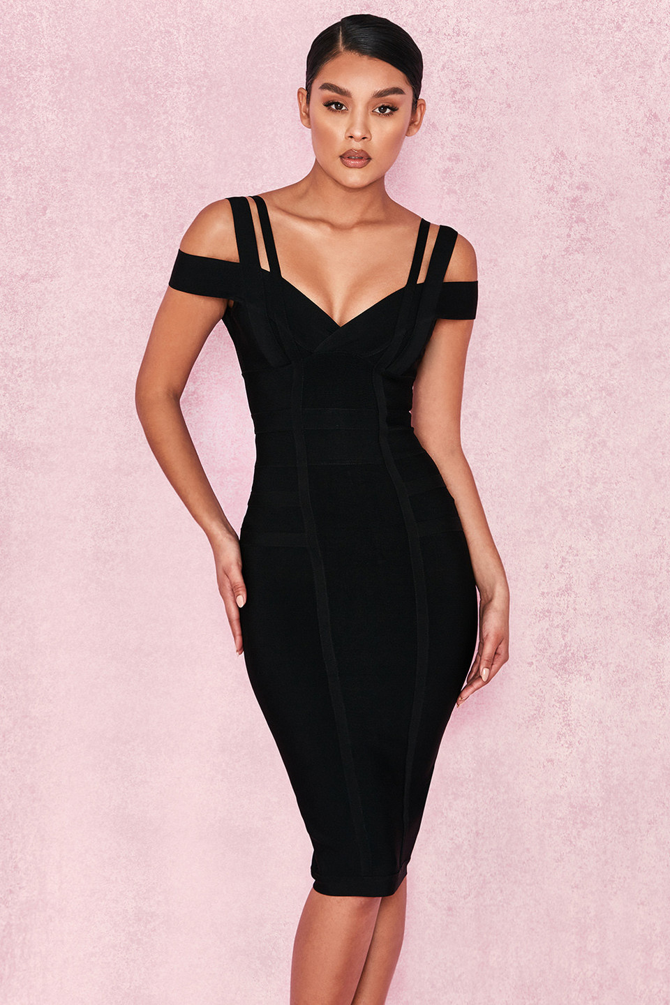 'Mimi' Black Off Shoulder Bandage Dress