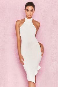 Sevva White Bandage Halter Dress