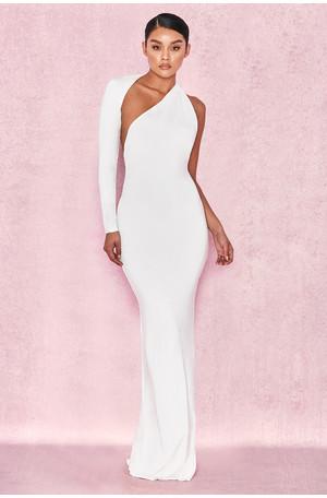 Merveille White Wrap Sleeve Maxi Dress