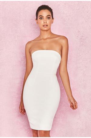 Rinah White Strapless Stretch Crepe Mini Dress