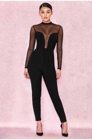 Wilhelmina Black Crepe Mesh Jumpsuit