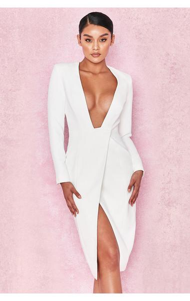 Akali White Crepe Wrap Over Plunge Dress