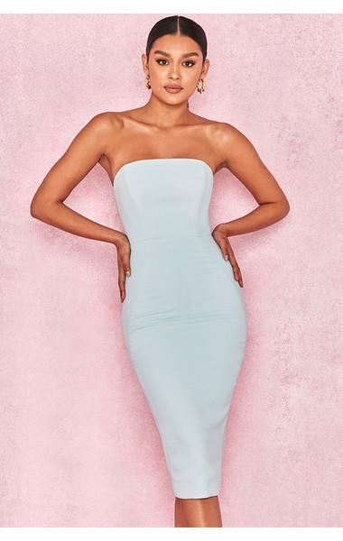 Isabella Light Blue Strapless Crepe Dress