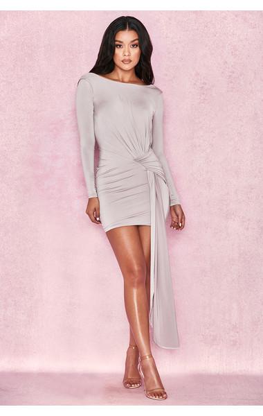 Sabrina Grey Backless Draped Mini Dress