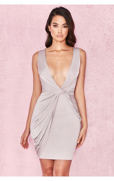 Xanetia Mink Silky Jersey Plunge Neck Dress