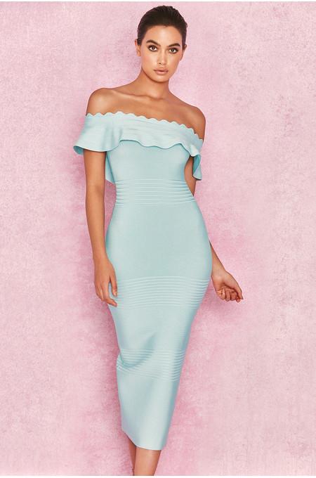 Amadea' Pale Blue Fluted Off Shoulder Dress