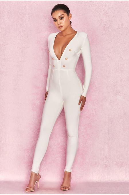 Alana White Bandage Extreme Plunge Jumpsuit