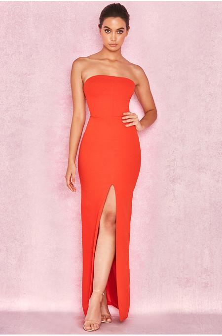 Holly Orange Slit Front Strapless Maxi Dress