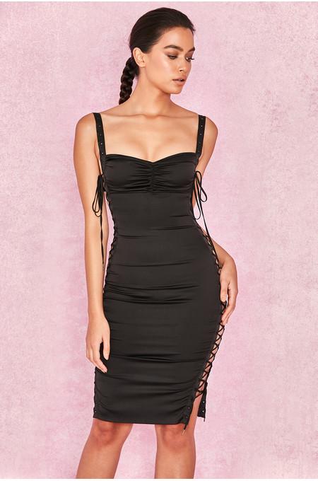 Katt Black Satin Side Lace Dress