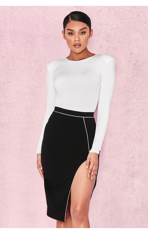 Larsa Black Thigh Split Pencil Skirt