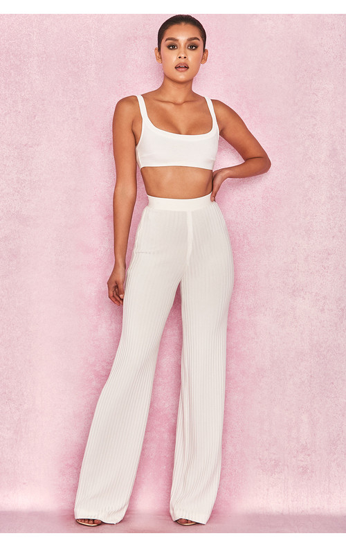Rowena White Ribbed Bandage Trousers