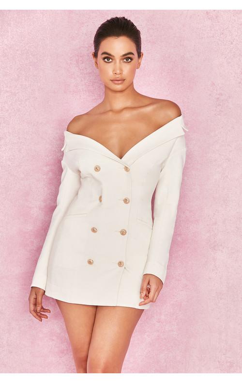 Severine White Crepe Bardot Tuxedo Mini Dress