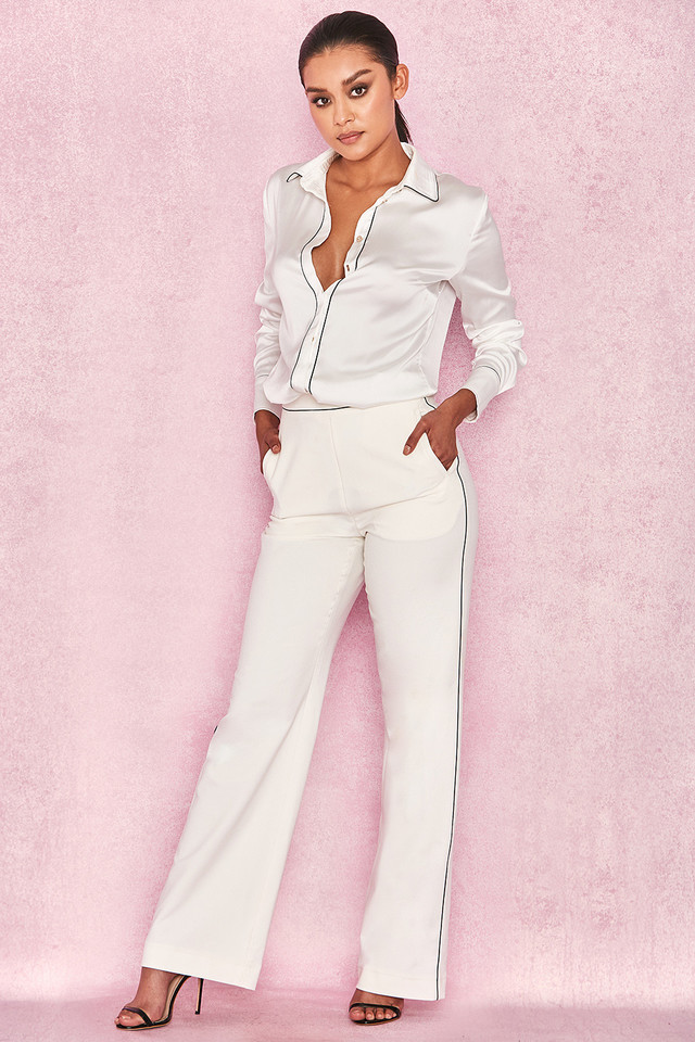 Nazan White Tailored Crepe Piped Trousers
