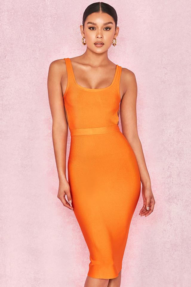 Justina Orange Cut Out Back Bandage Midi Dress