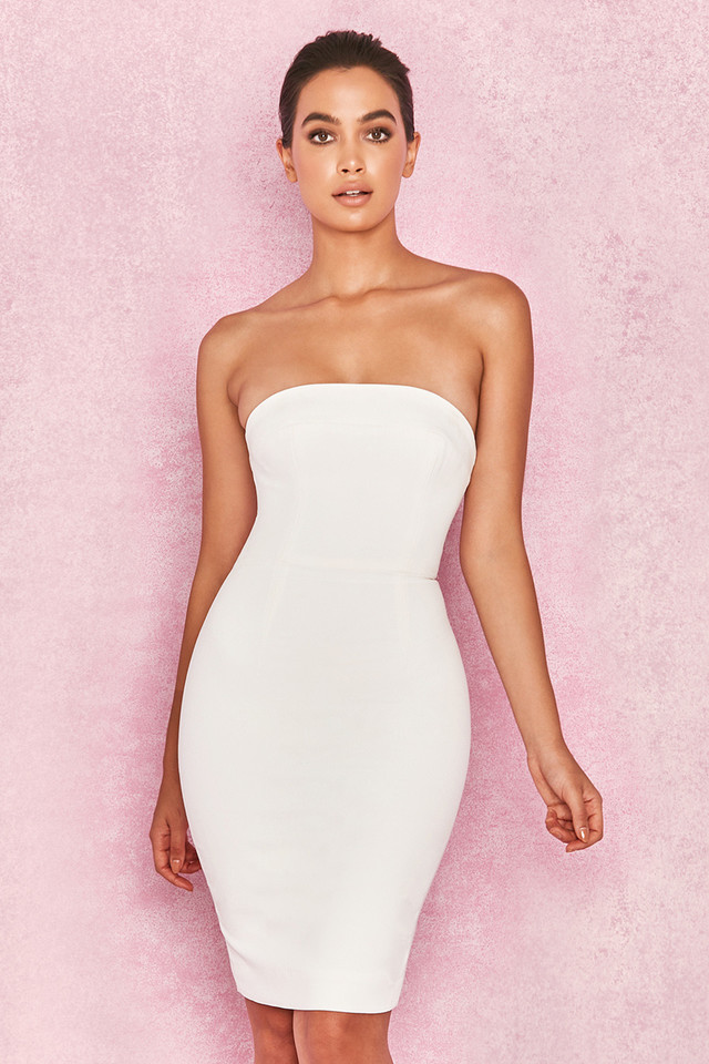 Rinah White Strapless Stretch Crepe Mini Dress