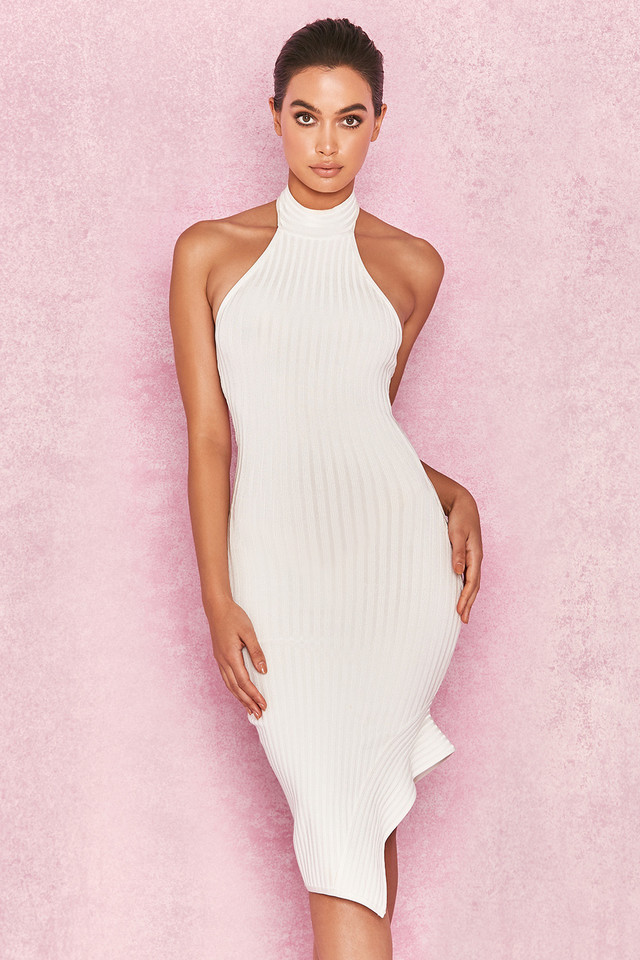 Sevva White Bandage Halter Dress