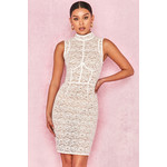Caitlyn White + Beige Lace Dress
