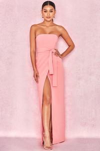 Miranda Pink Crepe Bandeau Maxi With Split