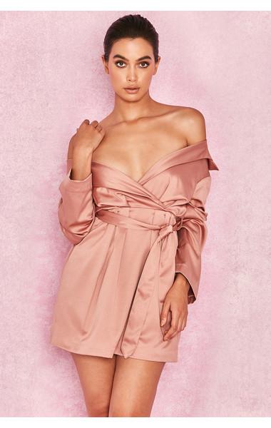Mena Pink Champagne Satin Off Shoulder Coat Dress