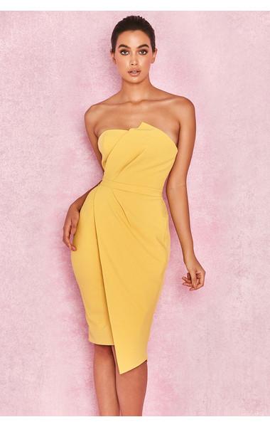 Uma Yellow Fold Front Mini Dress