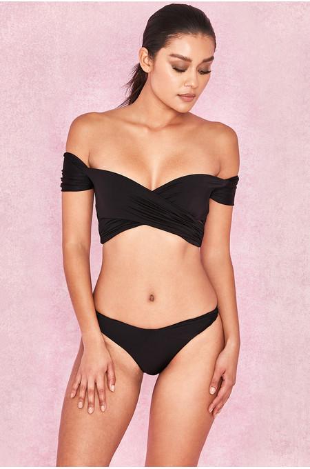 Barcelona Black Wrap Over Bardot Bikini Two Piece