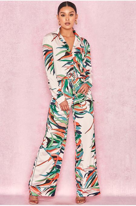 Bartola Blush Tropical Palm Print Trousers