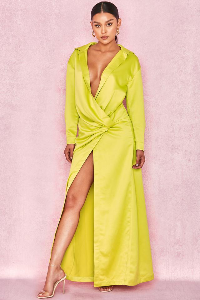 Castana Lime Green Shirt Maxi Dress