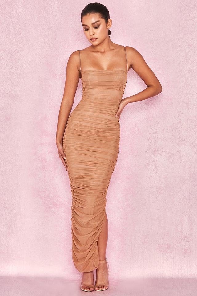Fornarina Tan Organza Mesh Maxi Dress
