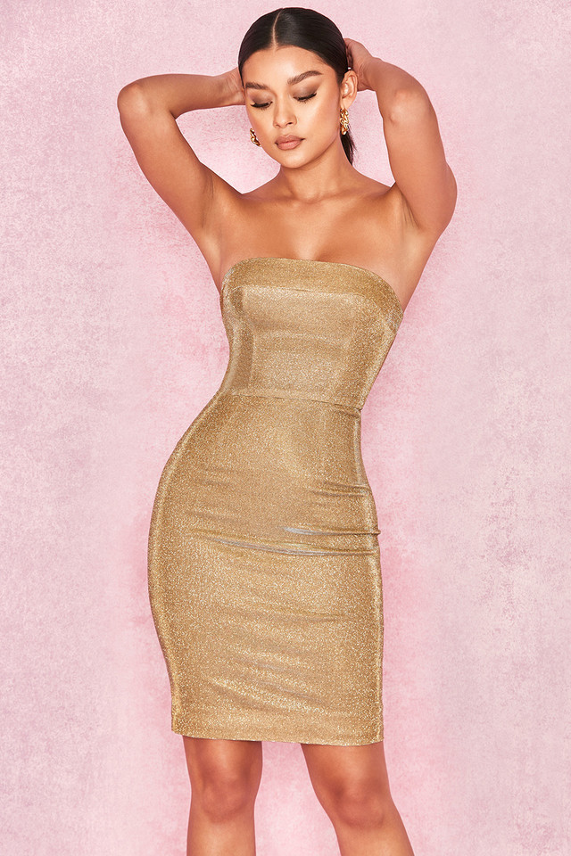 Rinah Iridescent Gold Strapless Mini Dress