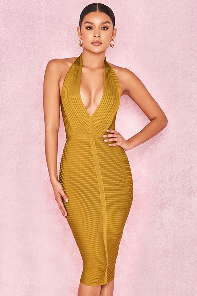 Verbena Mustard Rib Bandage Halter Dress
