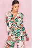 Salvaza Blush Tropical Palm Print Shirt