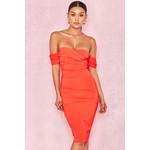 Anaelle Orange Crepe Off Shoulder Dress