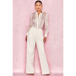 Viola White Crepe Trousers with Side Trim
