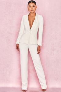 Estelle White Crepe Tailored Trousers
