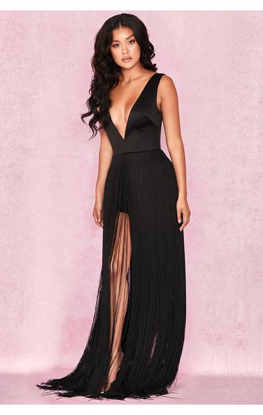 Alexina Black Satin Fringed Maxi Dress