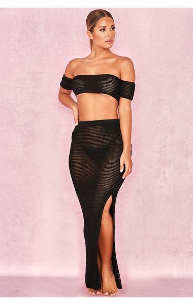 Ismene Black Open Crochet Maxi Skirt