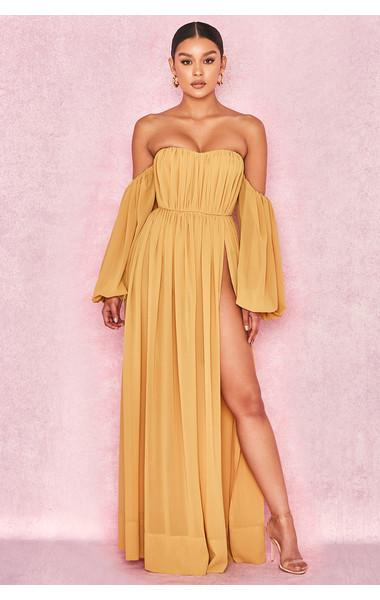 Marlena Mustard Chiffon Bardot Maxi Dress