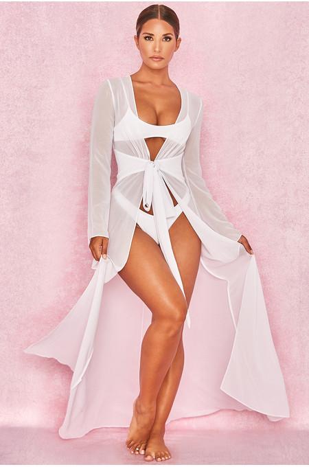 Evisa White Chiffon Beach Maxi Dress Cover Up