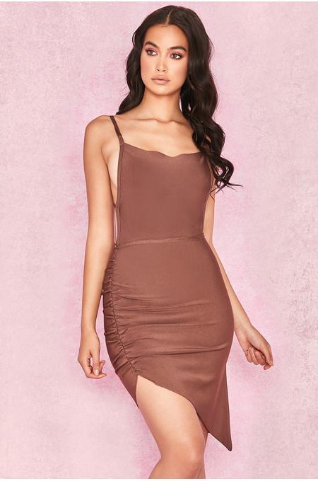 Meghan Brown Side Boob Bandage Dress