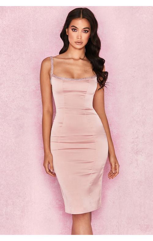 'Camilla' Pink Satin Dress with Hand Sewn Crystals